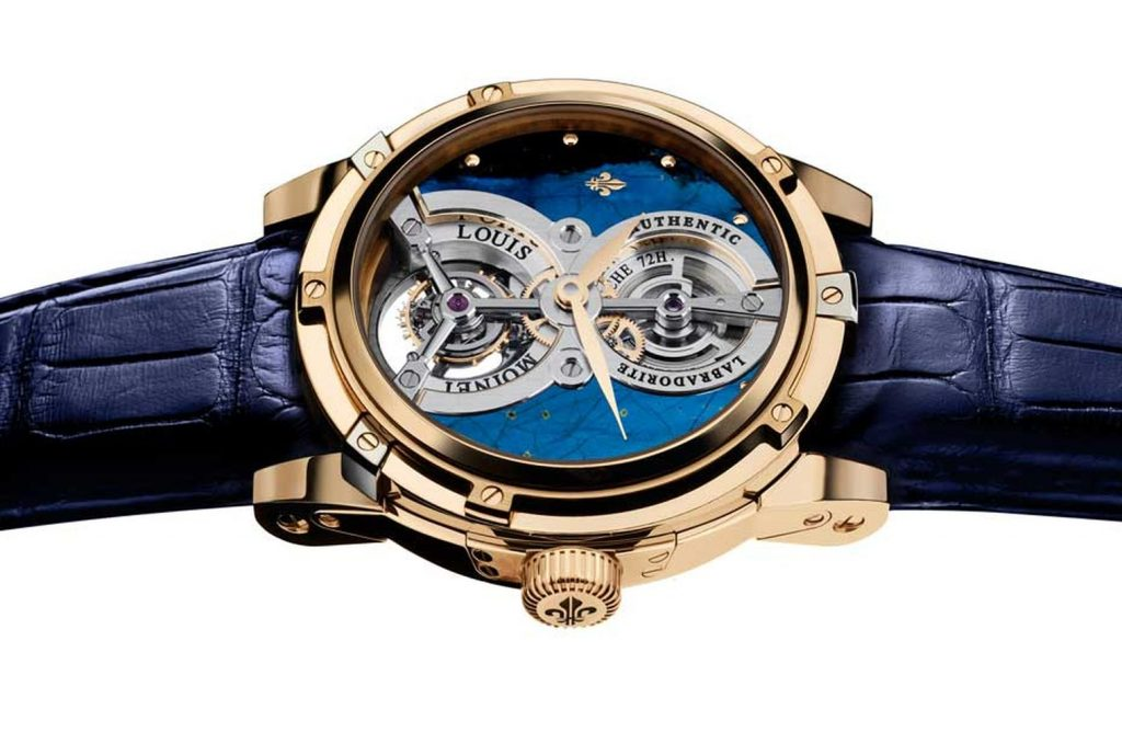 Rare and precious stones such as Labradorite are used in the Louis Moinet Treasures collection.