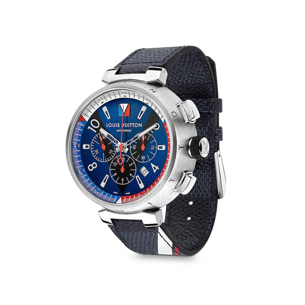 Louis Vuitton Tambour Navy Chronograph is part of the brand's America's Cup Collection.