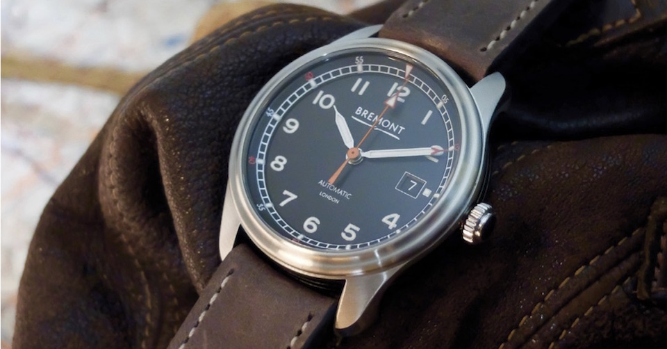 Bremont AIRCO on leather strap for vintage appeal.
