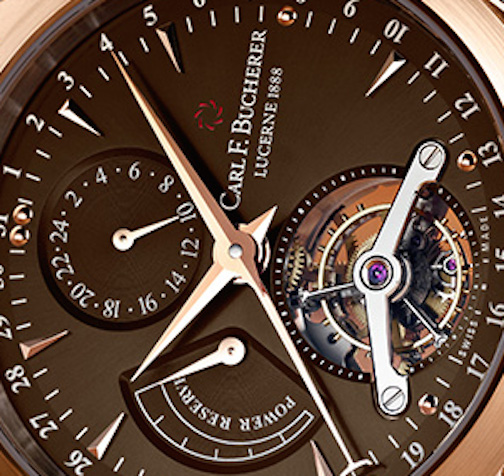 The chocolate brown dial with matt finish gives the watch a rich appeal
