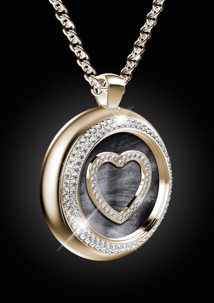 The Paul Forrest Heart's Passion jewelry is offered in either a heart-shaped pendant or a round medallion-shaped pendant.