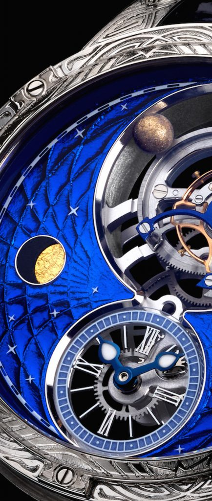 At 9:00 on the dial of the Louis Moinet Space Mystery watch, a tiny piece of meteorite containing amino acids is embedded.