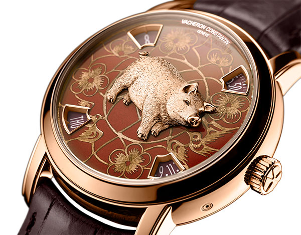 Vacheron Constantin Metiers d' Art Chinese Zodiac year of the Pig watch in rose gold with sculpted pig.