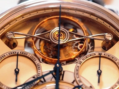 A close up look at the Montblanc ExoTourbillon Rattrapante -- a four-minute tourbillon without cage.