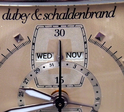 The calendar indications on the Dubey &Schaldenbrand Grand Dome DT are very legible.