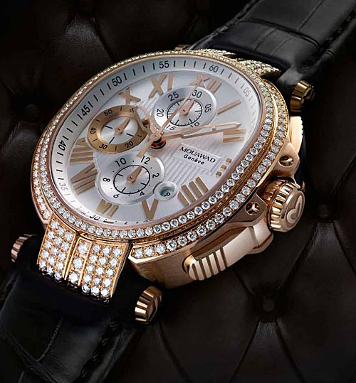Mouawad Grand Ellipse Chronograph in 18 karat rose gold