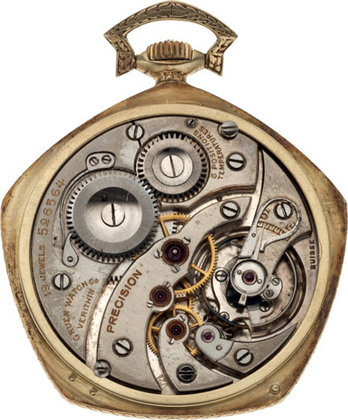 The Gruen VeriThin Pentagon pocket watch had a patent for the pinion packet, which Gruen patented in 1874.