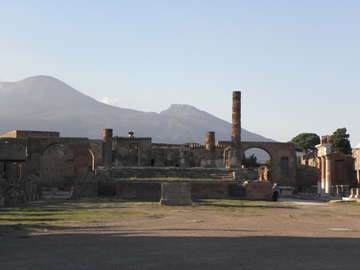 Temple of Jupiter with Vesuvius in background