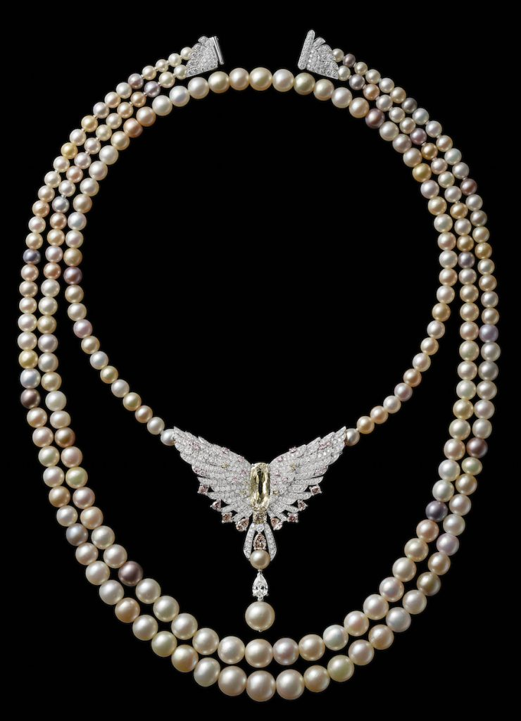 This stunning pearl necklace is created in honor of the re-opening of the Cartier Mansion and recalls the famed necklace that Cartier traded for the Plant Mansion.