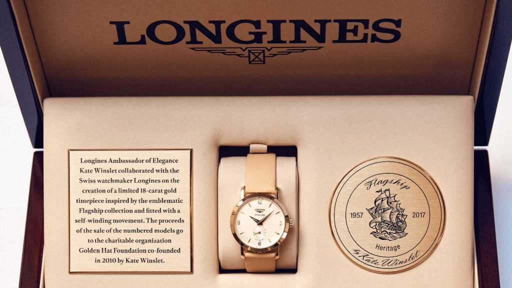 The Longines Flagship Heritage by Kate Winslet watch is sold in a special presentation box.