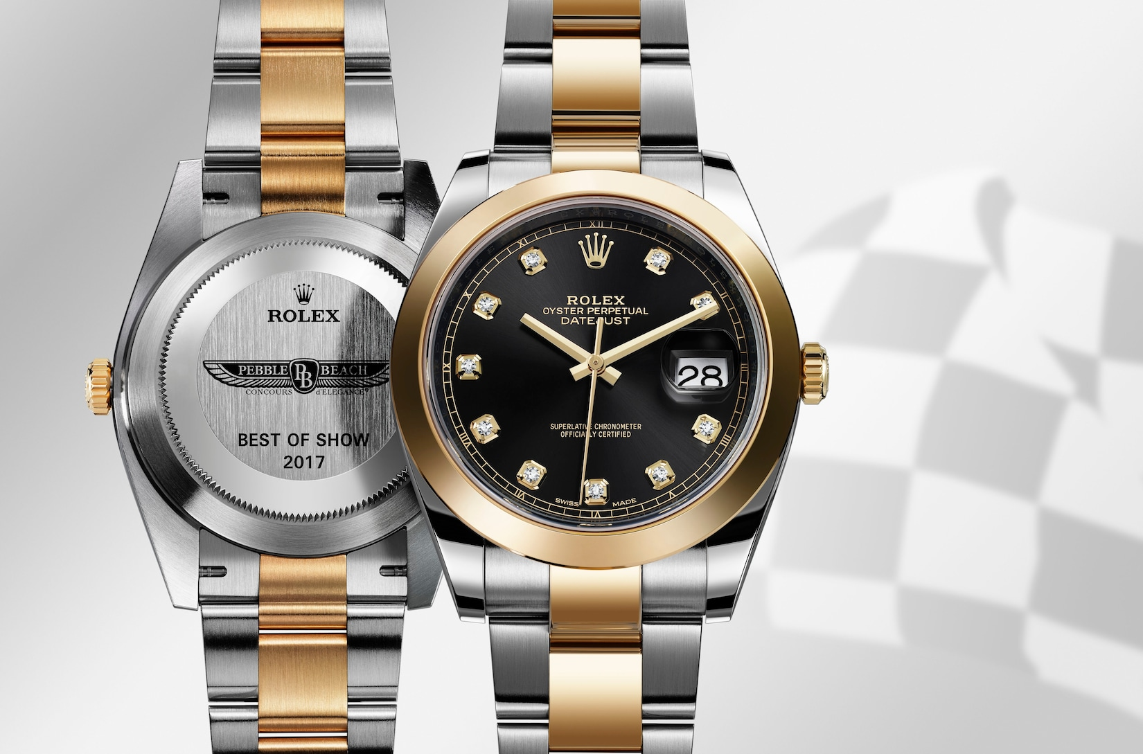 Rolex Oyster Perpetual Datejust 41 watch with special engraving on case back was given to Rolex Best of Show winner at Pebble Beach Concours d' Elegance 2017.