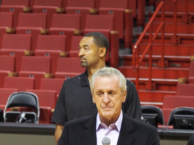 Pat Riley welcomed the journalists and Hublot guests onto the court at Miami American Airlines Arena