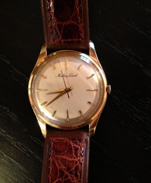 Thanks to David for sending images of this 1957 Mathey Tissot. His mom gave it to his dad when they were married. It works beautifully and David still wears it today.