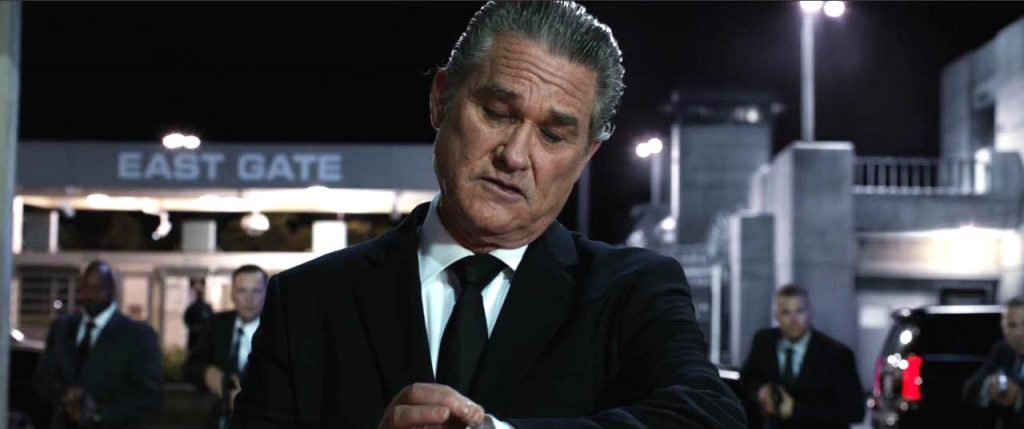 Kurt Russell checks his Niall GMT Noir watch in the movie Fate of the Furious.