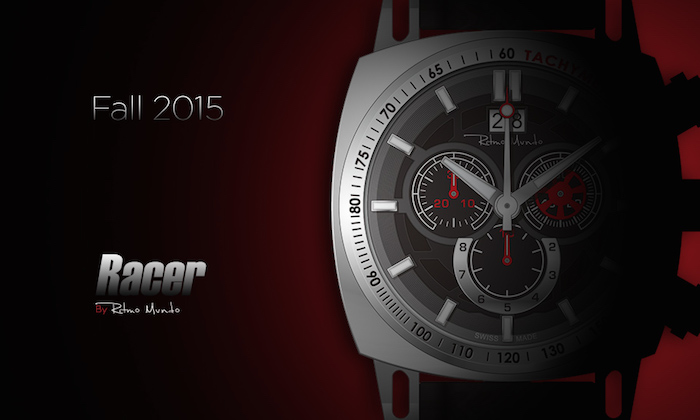 Ritmo Mundo's Racer Quartz Chronograph in stainless steel with red accents