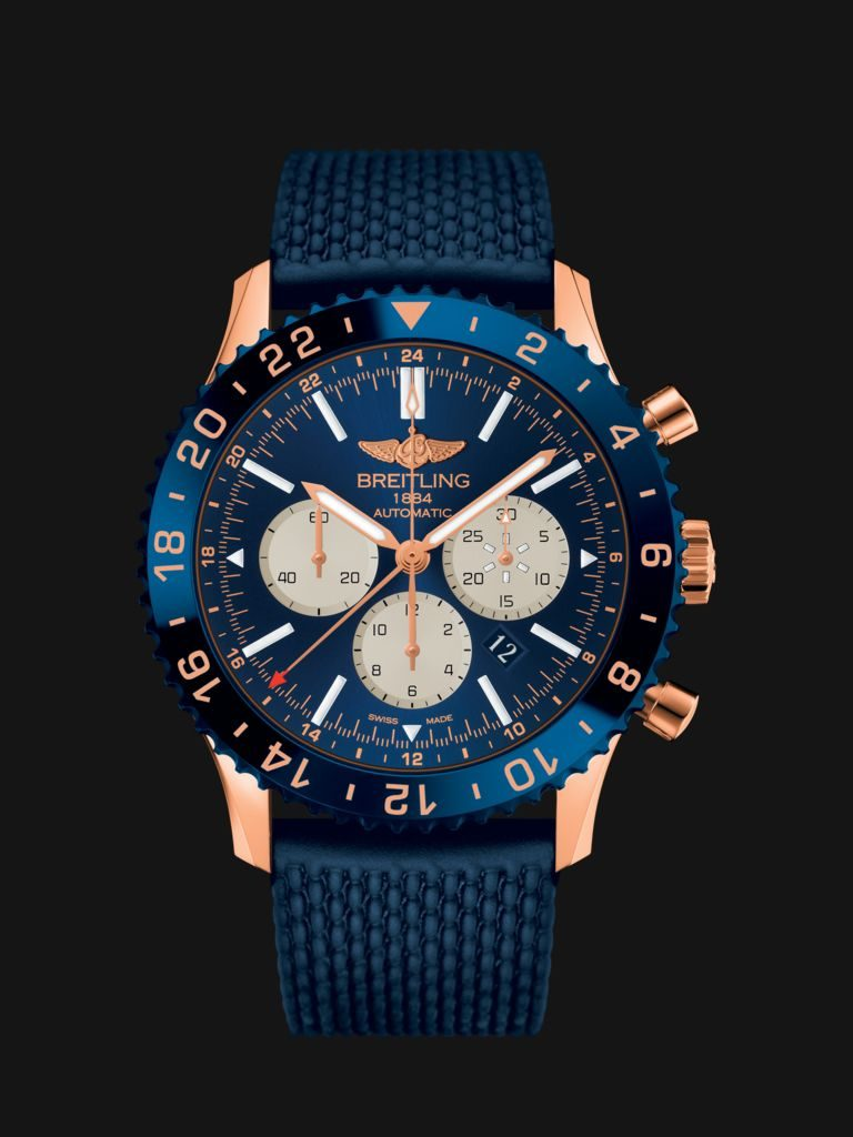 The complex caliber of the Breitling Chronoliner B04 offers multiple time zones and split-second timing.