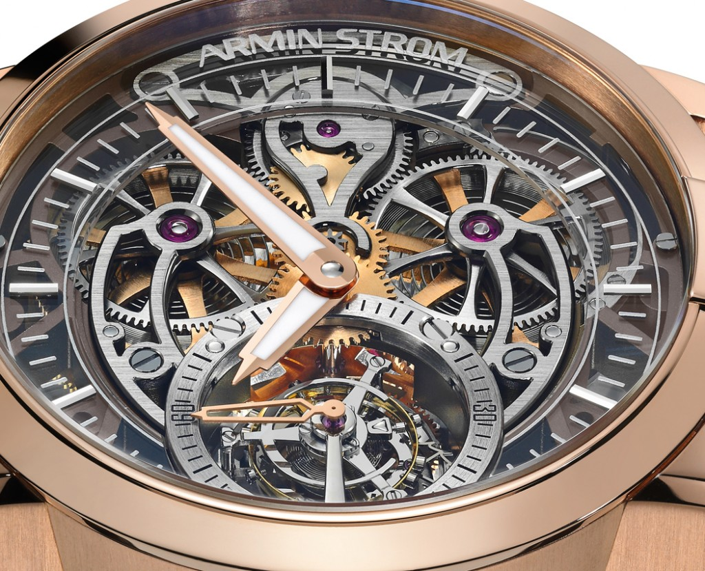 The movement of the watch features a skeletonized tourbillon