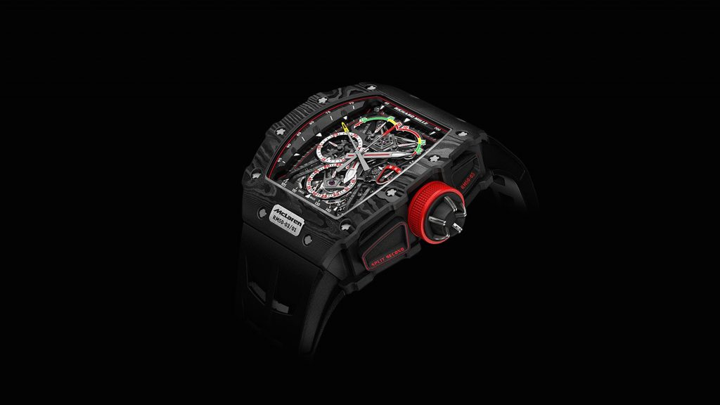 RM 50-03 Tourbillion Split Seconds Chronograph Ultralight McLaren F1, which is aligned with the McLaren Formula 1 racing team.