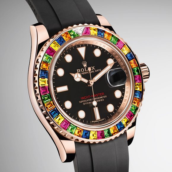 The Rolex Yacht-Master 40 with a painter's palette of gemstones on the bezel is a conversation starter.