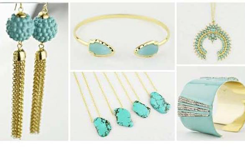 Turquoise colored jewelry heats up the cool winter in style.