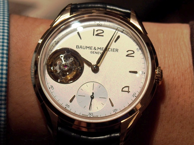 The stunning new Clifton 1892 Tourbillon from Baume & Mercier, on a gent's wrist.