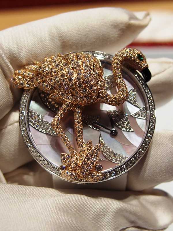 The previously shown flamingo brooch inspired this newly released Cartier watch, complete with removable flamingo brooch.