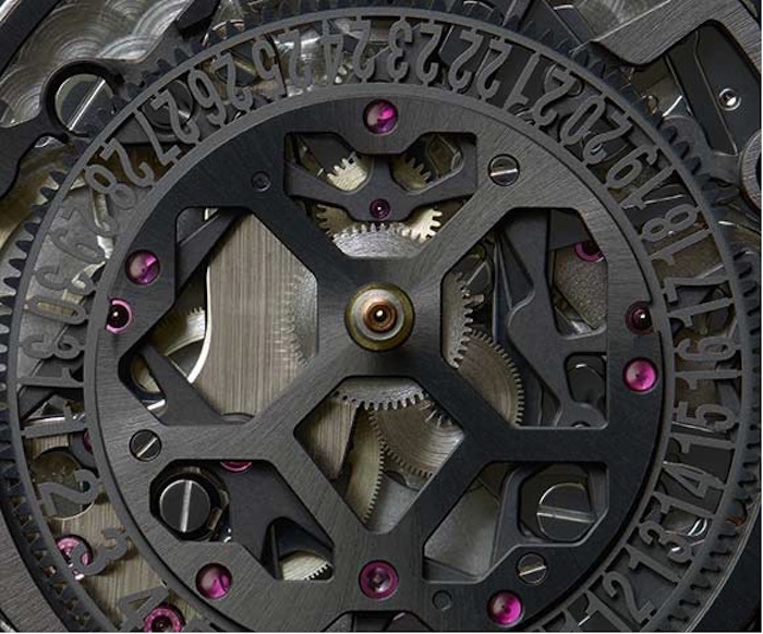 The skeletonized chronograph movement was created in cooperation with Dubois Depraz.