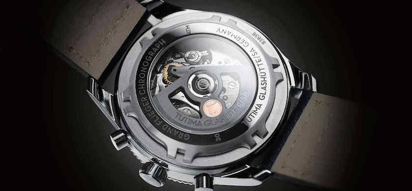 The watch features a transparent casebook for viewing the in-house-made movement