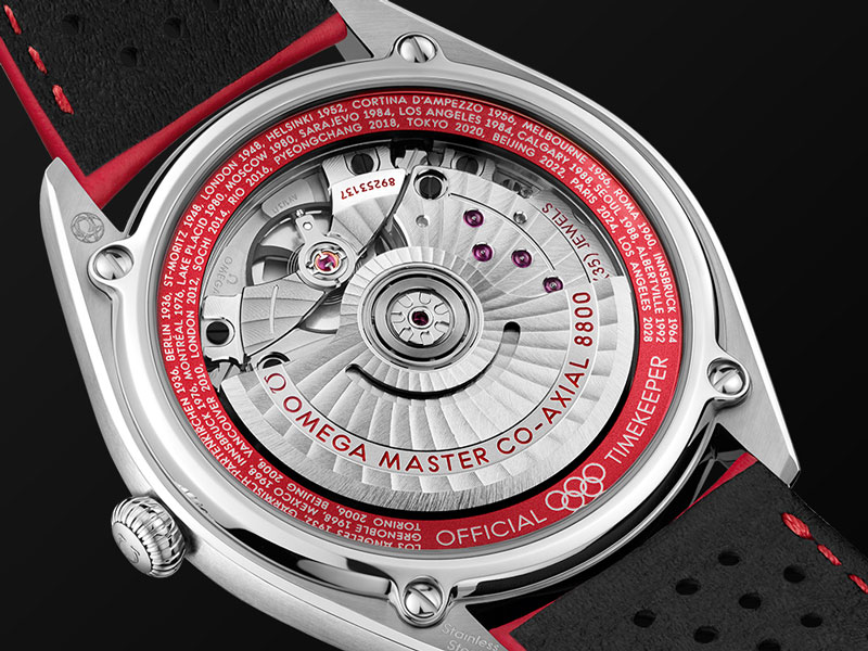 The caseback of the Omega Olympic Collection Limited Edition watches