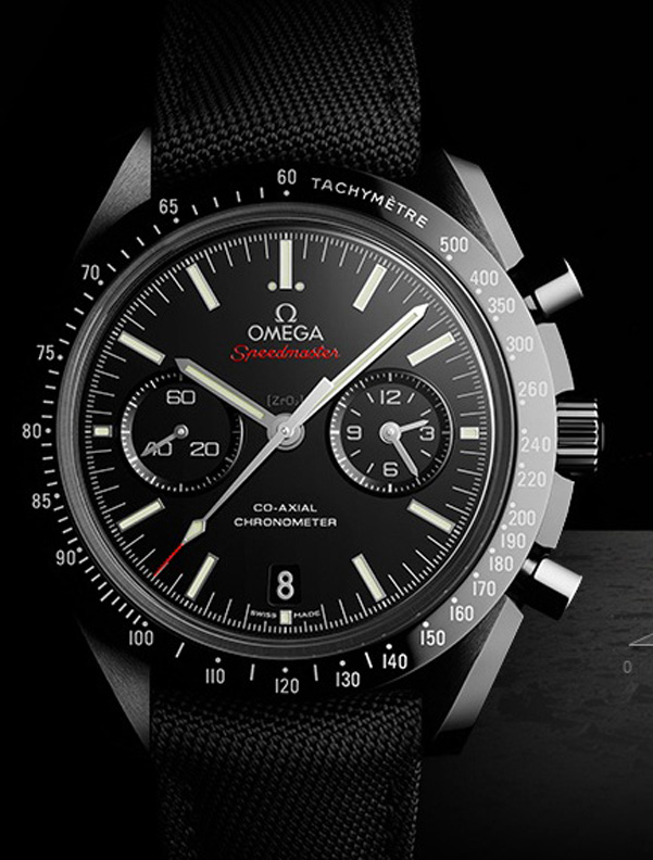 Omega Speedmaster Dark Side of the Moon is crafted entirely of high-tech ceramic.