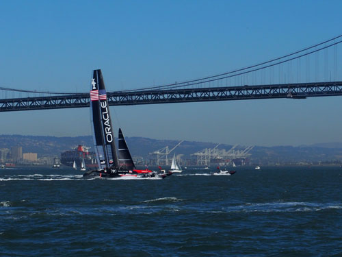 Oracle Team USA in San Francisco Bay on Day 1 of the 34th America's Cup races