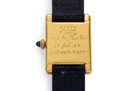The caseback of the Jackie Kennedy Onassis Cartier Tank watch is engraved.