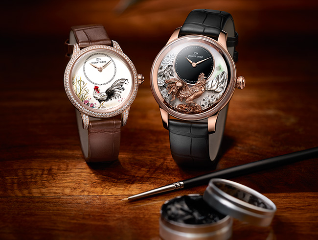 There are two distinct dials for this year's Jaquet Droz Year of the Rooster watches: one painted, one sculpted.