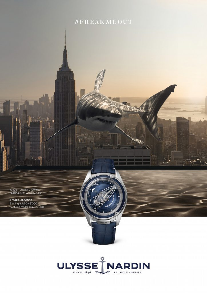 "Sharks where they don't belong ... in the Ulysse Nardin ""FrekMeOut campaign for the Freak Vision watch."