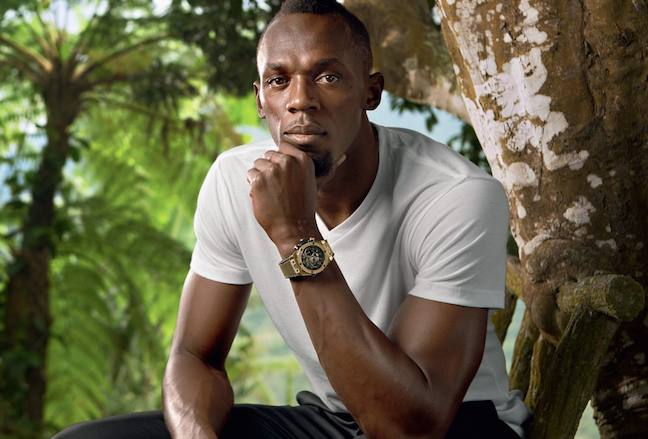Usain Bolt wearing the new Hublot Usain Bolt Big Bang watch in King Power Gold
