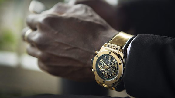 """Bolt said he wanted the new watch to """"pop"""" and the gold version truly accomplishes that ."""
