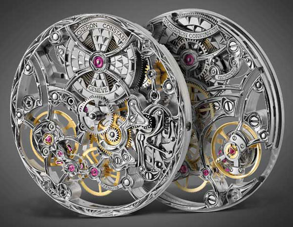 The movement of the Vacheron Constantin Mecanique Ajourees -- Caliber 4400 -- is magnificently skeletonized.