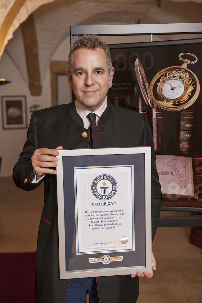 Jean-Marie Schaller, CEO of Louis Moinet, accepts the Guinness World Records Award.