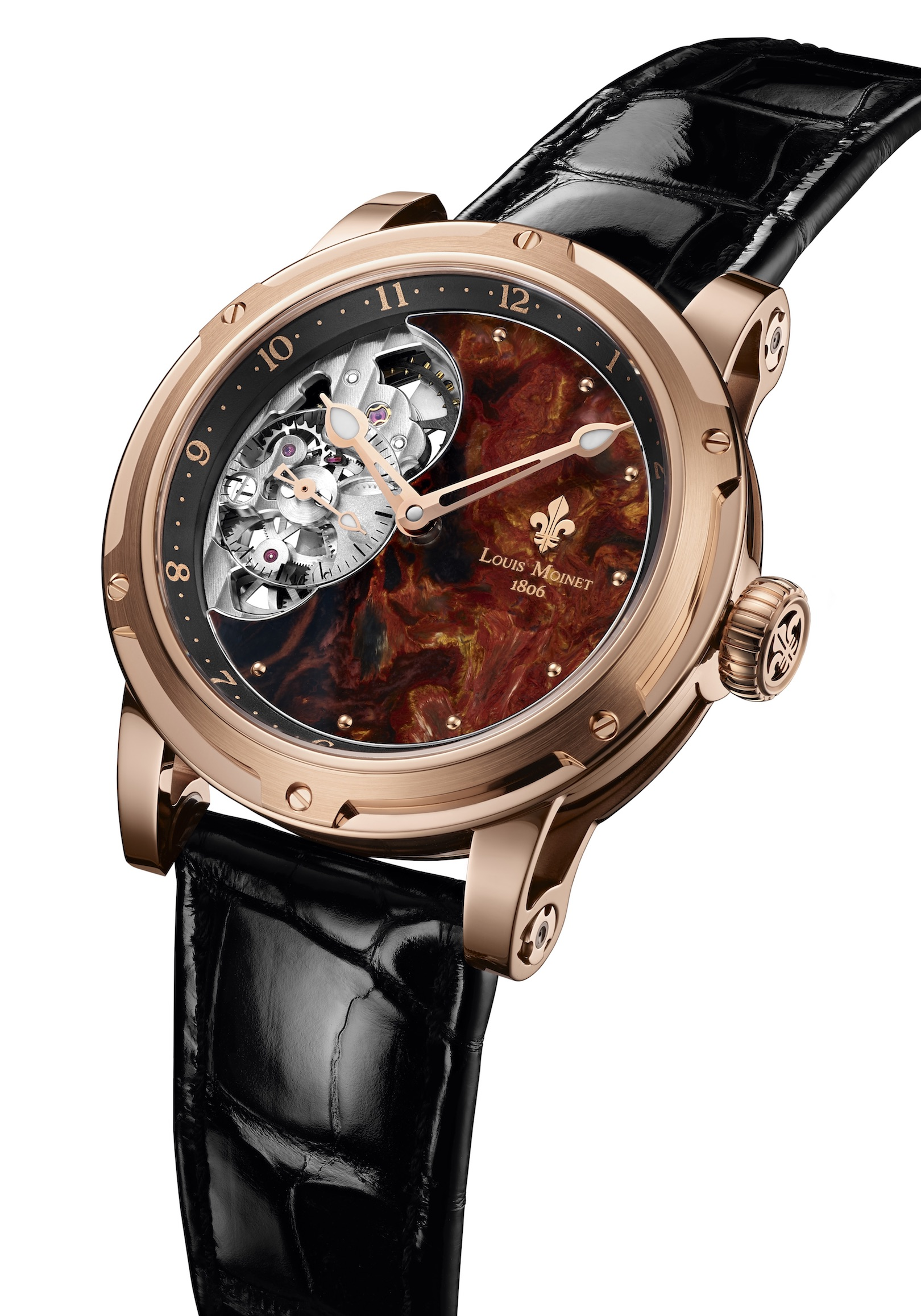 In typical Louis Moinet style, the dials of the new Moscow boutique pieces are made of rare minerals.