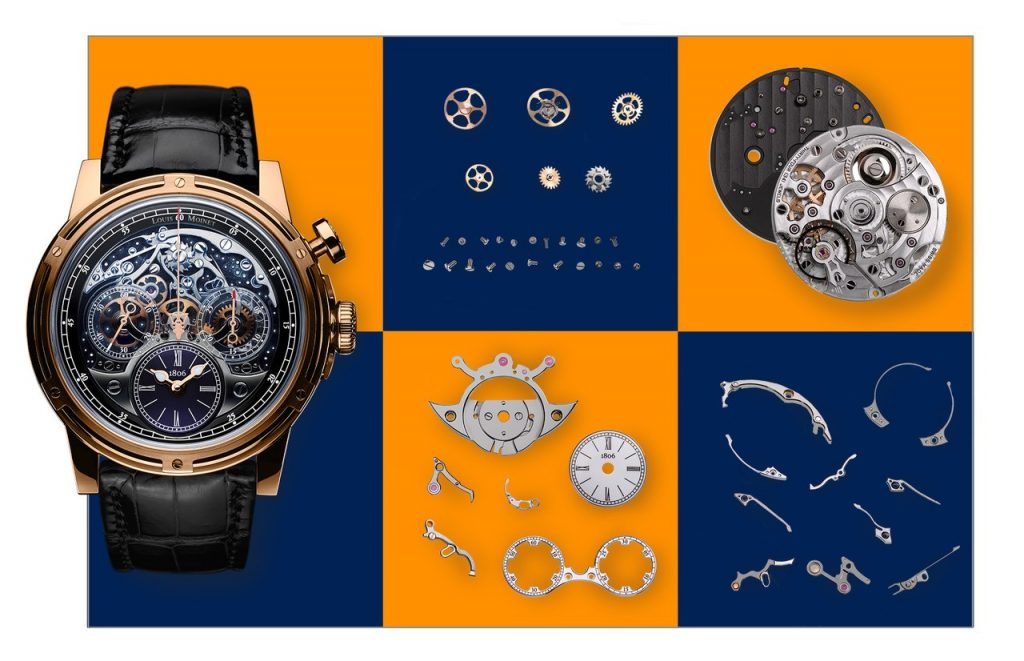 The Louis Moinet Memoris watch houses a totally reconfigured movement made so that one can witness the chronograph in action via the dial side.