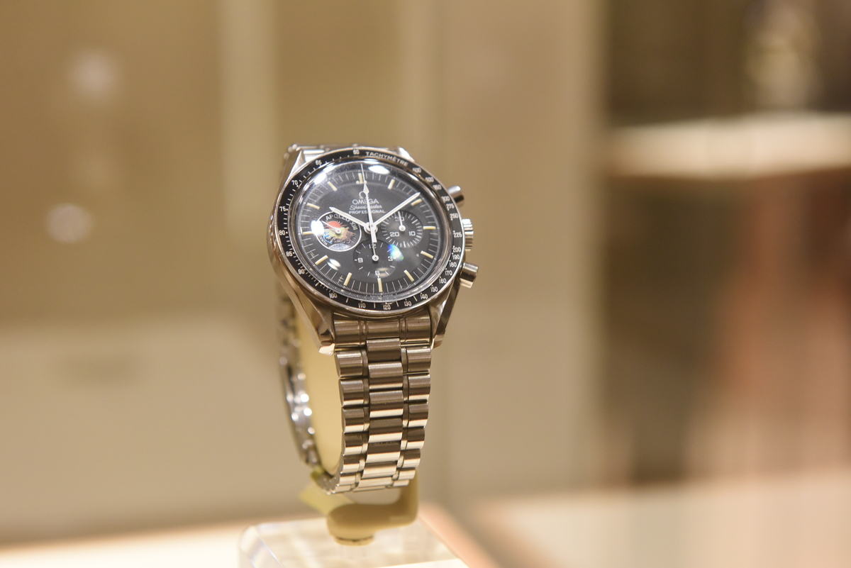 Vintage Omega Speedmasters collection at Omega Boutique in New York, (Photo: Diane Bondereff)