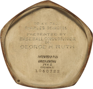 The watch is inscribed on the caseback to Babe Ruth