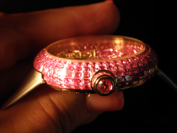 A total of 36.75 carats of baguette-cut sapphires adorn the watch.